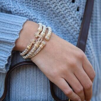 The secret to stacking VAHAN bracelets there are no rules. Add to your stack today, just in time fo