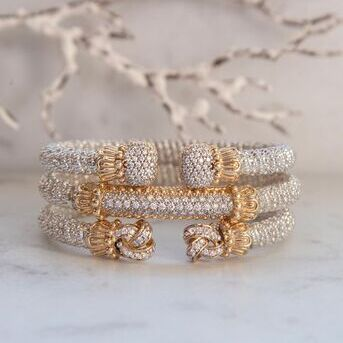 Its cold outside so were staying in and stacking our bracelets high   VAHANjewelry VAHANstyle goldb