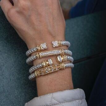 There is a science to stacking VAHAN bracelets. What youll need is your imagination and an eye for