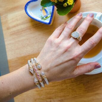 Bracelet stack with a side of afternoon tea, thats what our day looks like