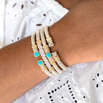 Turquoise has our hearts. These newest turquoise bracelets are perfect for that pop of color. The b