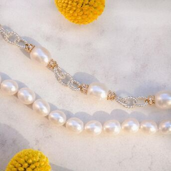 All the pearls please. Chain bracelet with pearls? We have it. Just pearls? We have that too. We pr