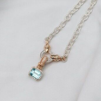 We cant get enough of our sky blue topaz  Our pendants have clasps on the back so you can take them